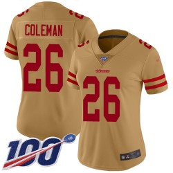 Limited Women's Tevin Coleman Gold Jersey - #26 Football San Francisco 49ers 100th Season Inverted Legend