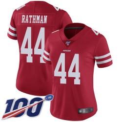 Limited Women's Tom Rathman Red Home Jersey - #44 Football San Francisco 49ers 100th Season Vapor Untouchable