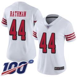 Limited Women's Tom Rathman White Jersey - #44 Football San Francisco 49ers 100th Season Rush Vapor Untouchable