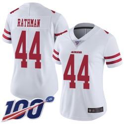 Limited Women's Tom Rathman White Road Jersey - #44 Football San Francisco 49ers 100th Season Vapor Untouchable