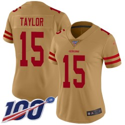 Limited Women's Trent Taylor Gold Jersey - #15 Football San Francisco 49ers 100th Season Inverted Legend