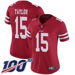 Limited Women's Trent Taylor Red Home Jersey - #15 Football San Francisco 49ers 100th Season Vapor Untouchable