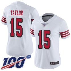 Limited Women's Trent Taylor White Jersey - #15 Football San Francisco 49ers 100th Season Rush Vapor Untouchable