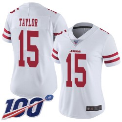 Limited Women's Trent Taylor White Road Jersey - #15 Football San Francisco 49ers 100th Season Vapor Untouchable