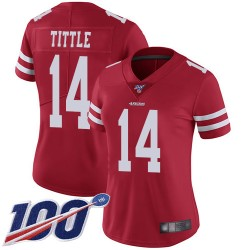 Limited Women's Y.A. Tittle Red Home Jersey - #14 Football San Francisco 49ers 100th Season Vapor Untouchable