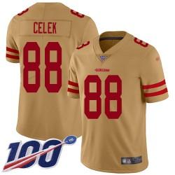 Limited Youth Garrett Celek Gold Jersey - #88 Football San Francisco 49ers 100th Season Inverted Legend