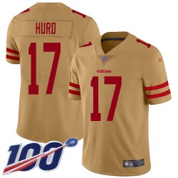 Limited Youth Jalen Hurd Gold Jersey - #17 Football San Francisco 49ers 100th Season Inverted Legend