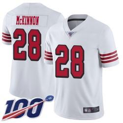 Limited Youth Jerick McKinnon White Jersey - #28 Football San Francisco 49ers 100th Season Rush Vapor Untouchable