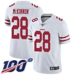 Limited Youth Jerick McKinnon White Road Jersey - #28 Football San Francisco 49ers 100th Season Vapor Untouchable