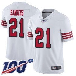Limited Men's Deion Sanders White Jersey - #21 Football San Francisco 49ers 100th Season Rush Vapor Untouchable