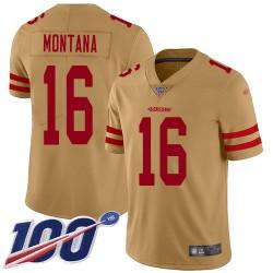 Limited Youth Joe Montana Gold Jersey - #16 Football San Francisco 49ers 100th Season Inverted Legend