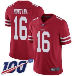 Limited Youth Joe Montana Red Home Jersey - #16 Football San Francisco 49ers 100th Season Vapor Untouchable