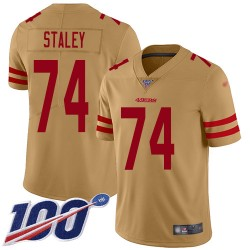Limited Youth Joe Staley Gold Jersey - #74 Football San Francisco 49ers 100th Season Inverted Legend