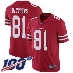 Limited Youth Jordan Matthews Red Home Jersey - #81 Football San Francisco 49ers 100th Season Vapor Untouchable