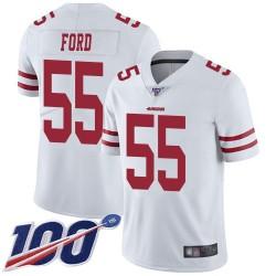 Limited Men's Dee Ford White Road Jersey - #55 Football San Francisco 49ers 100th Season Vapor Untouchable