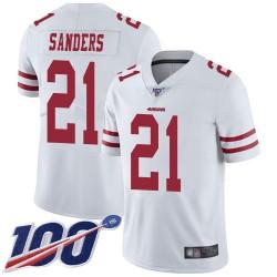 Limited Men's Deion Sanders White Road Jersey - #21 Football San Francisco 49ers 100th Season Vapor Untouchable