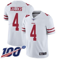 Limited Youth Nick Mullens White Road Jersey - #4 Football San Francisco 49ers 100th Season Vapor Untouchable