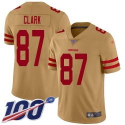 Limited Men's Dwight Clark Gold Jersey - #87 Football San Francisco 49ers 100th Season Inverted Legend