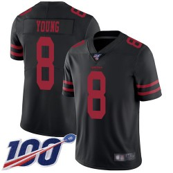Limited Youth Steve Young Black Alternate Jersey - #8 Football San Francisco 49ers 100th Season Vapor Untouchable