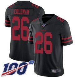 Limited Youth Tevin Coleman Black Alternate Jersey - #26 Football San Francisco 49ers 100th Season Vapor Untouchable