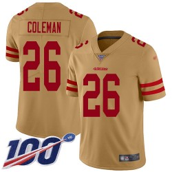Limited Youth Tevin Coleman Gold Jersey - #26 Football San Francisco 49ers 100th Season Inverted Legend