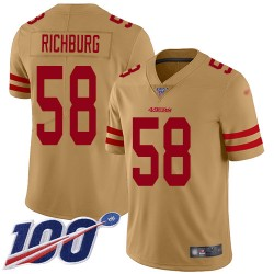 Limited Youth Weston Richburg Gold Jersey - #58 Football San Francisco 49ers 100th Season Inverted Legend