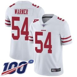 Limited Men's Fred Warner White Road Jersey - #54 Football San Francisco 49ers 100th Season Vapor Untouchable