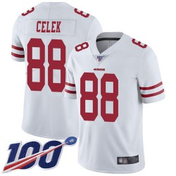 Limited Men's Garrett Celek White Road Jersey - #88 Football San Francisco 49ers 100th Season Vapor Untouchable