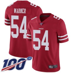 Limited Men's Fred Warner Red Home Jersey - #54 Football San Francisco 49ers 100th Season Vapor Untouchable