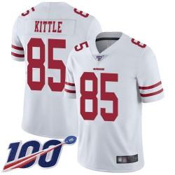 Limited Men's George Kittle White Road Jersey - #85 Football San Francisco 49ers 100th Season Vapor Untouchable